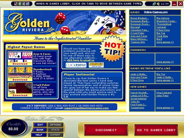 Golden Riviera Casino Promotions