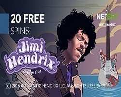 20 No Deposit Free Spins on Jimi Hendrix Slot
